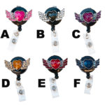 SIZZLE CITY Custom Bling Rhinestone Medium Winged Heart Retractable ID Badge Holder: Group Shot