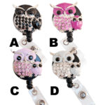 SIZZLE CITY Custom Bling Rhinestone Owl Pair Badge Reel Retractable ID Badge Holders: Group Shot 3