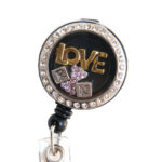 SIZZLE CITY Custom Bling RN Rhinestone Love Charm Badge Reel Retractable ID Badge Holder