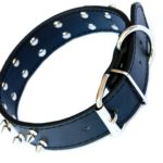 Thick Black Leather Studded Dog Collar 2