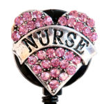 Custom Pink Bling Rhinestone Heart Nurse Banner Badge Reel Retractable ID Badge Holder