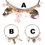 Breast Cancer Pink Ribbon Wire Hook Charm Bracelet: Group Shot