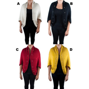 Women's Custom Patterned Knit Bead Button Cardigan Sweaters: Group Shot
