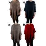 Women's Custom Patterned Knit V Shaped Poncho Sweater: Group Shot
