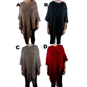 Women's Custom Patterned Knit V Shaped Poncho Sweater: Group Shot