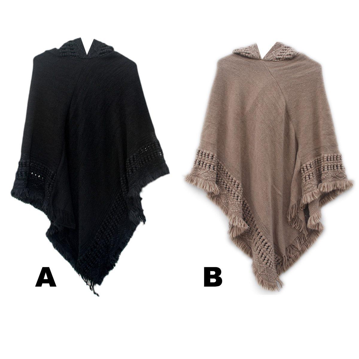 Mens Hooded Poncho Knitting Pattern : Women s Custom Knit Pattern Hooded Fashion Ponchos ...