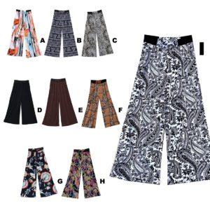 Women's Light-Weight Custom Colored Pattern Fashion Palazzo Pants: Group Shot