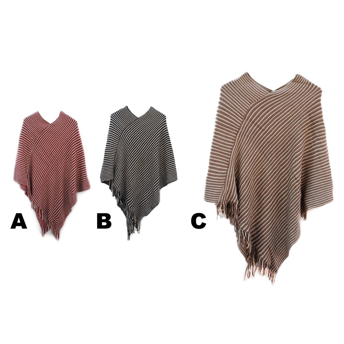 Knitting Pattern Striped Poncho : Women s Custom Knit Pattern Striped Fashion Ponchos SIZZLE CITY