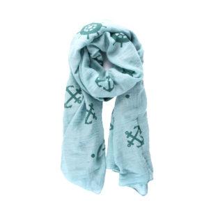 Long Blue Anchor Pattern Light-Weight Fashion Scarf 1