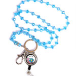 Love Blue Flowers Floating Charm Locket Badge Reel Turquoise Bead Lanyard Set