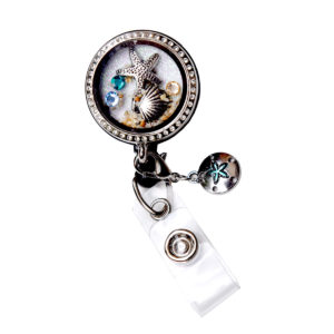 Sea Shell Charm Star Fish Locket Badge Reel Retractable ID Badge Holder