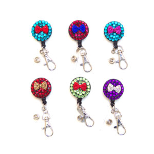 6 Bling Bow Tie Rhinestone Retractable ID Badge Reels: Group Shot