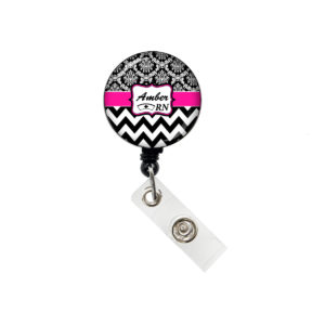 Personalized Name Chevron Damask Retractable ID Badge Holder: Featured Image