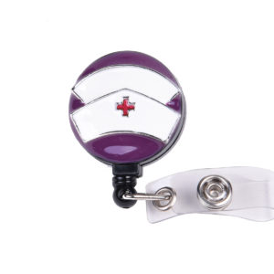 3D Purple Nurse Hat Badge Reel Retractable ID Badge Holder: Featured Image