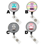 Custom Cute Owl Badge Reel Retractable ID Badge Holder: Group Shot