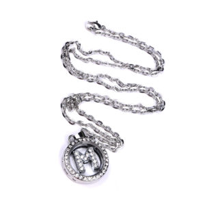 Mini Rhinestone Letter Sterling Silver Charm Locket Necklace: Featured Image