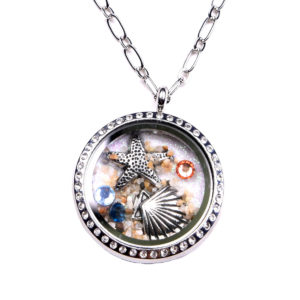 Sterling Silver Sea Life Rhinestone Charm Locket Chain Necklace: Featured Image