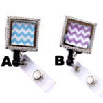 Empty Colored Chevron Square Charm Locket Retractable Rhinestone ID Badge Holders: Featured Image