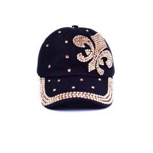 Black & Gold Bling Rhinestone Fleur de Lis Baseball Cap