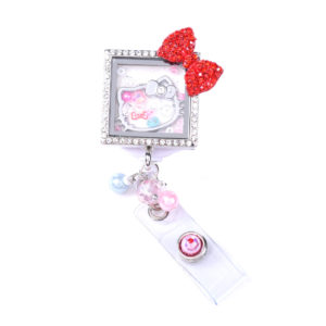 Square Kitty Bow Charm Locket Retractable ID Badge Holder: Featured Image
