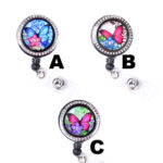 Colored Butterfly Floating Flower Retractable ID Badge Holder: Featured Image
