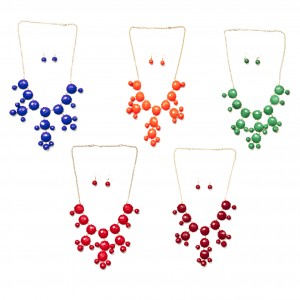 SIZZLE CITY Faceted Colored Bubble Bib Necklaces on Gold Plated Chain with Matching Earring Jewelry Set