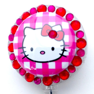 SIZZLE CITY Custom Retractable ID Badge Reels: Hello Kitty Pink Plaid