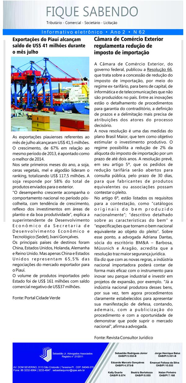 News n° 62- ano 2 - 21.08