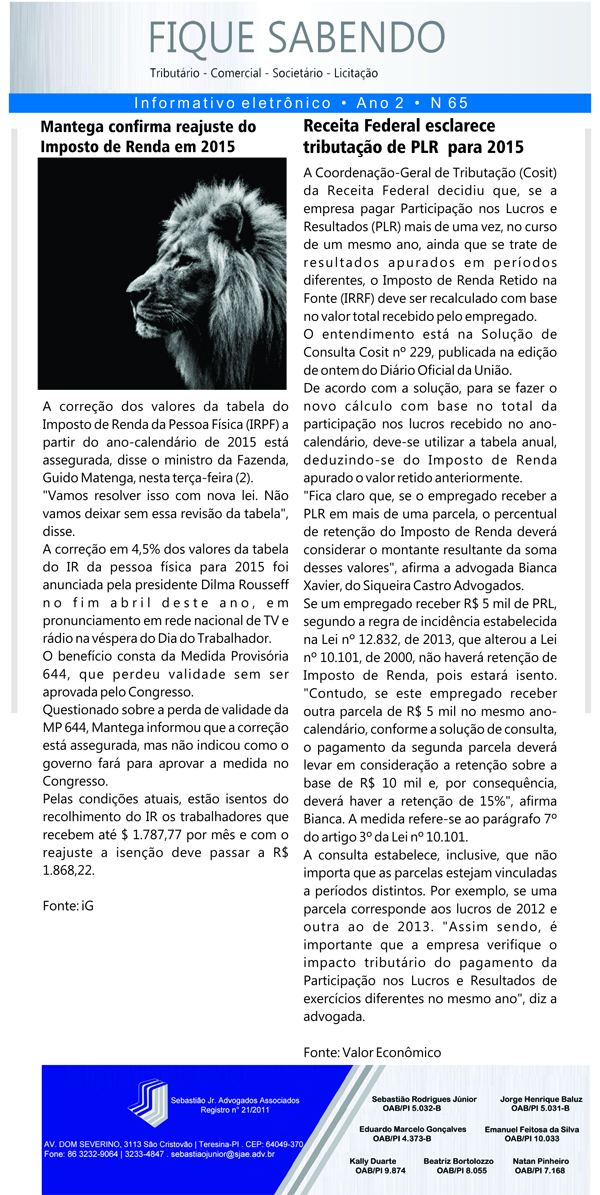 News n° 65- ano 2 - 02.09