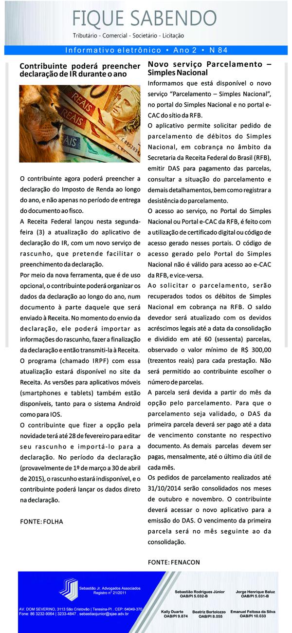 News n° 84- ano 2 - 04 nov