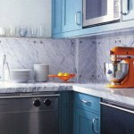 marble backsplash blue orange kitchen
