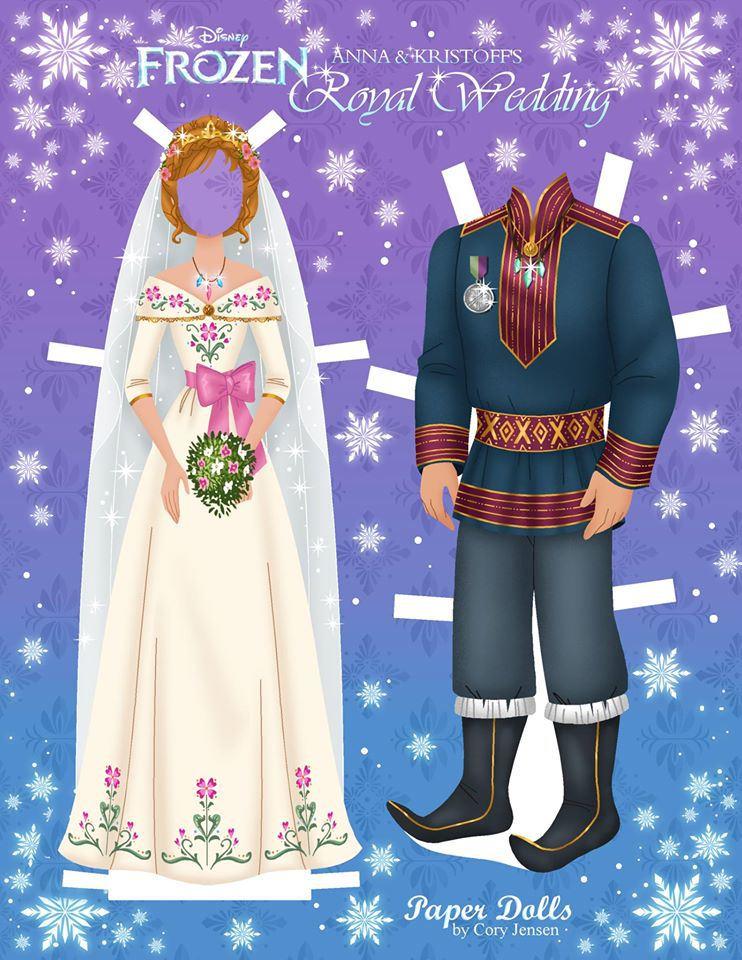 Frozen paper doll royal wedding anna and kristoff jpg