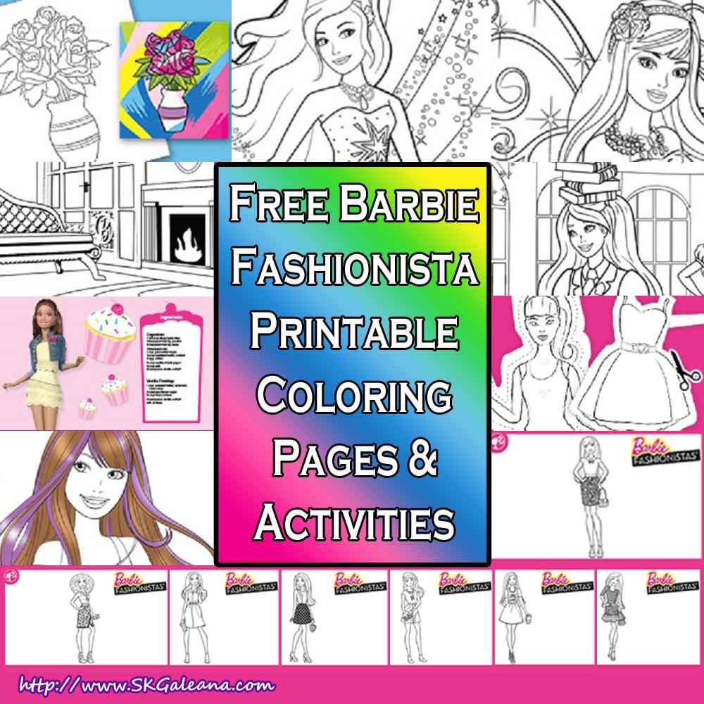 Barbie Coloring Pages Fashion Games : Barbie fashionista free printables skgaleana