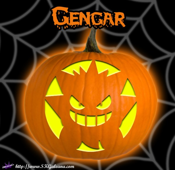 Pumpkin carving template of gengar from pokemon skgaleana for Pokemon jack o lantern template