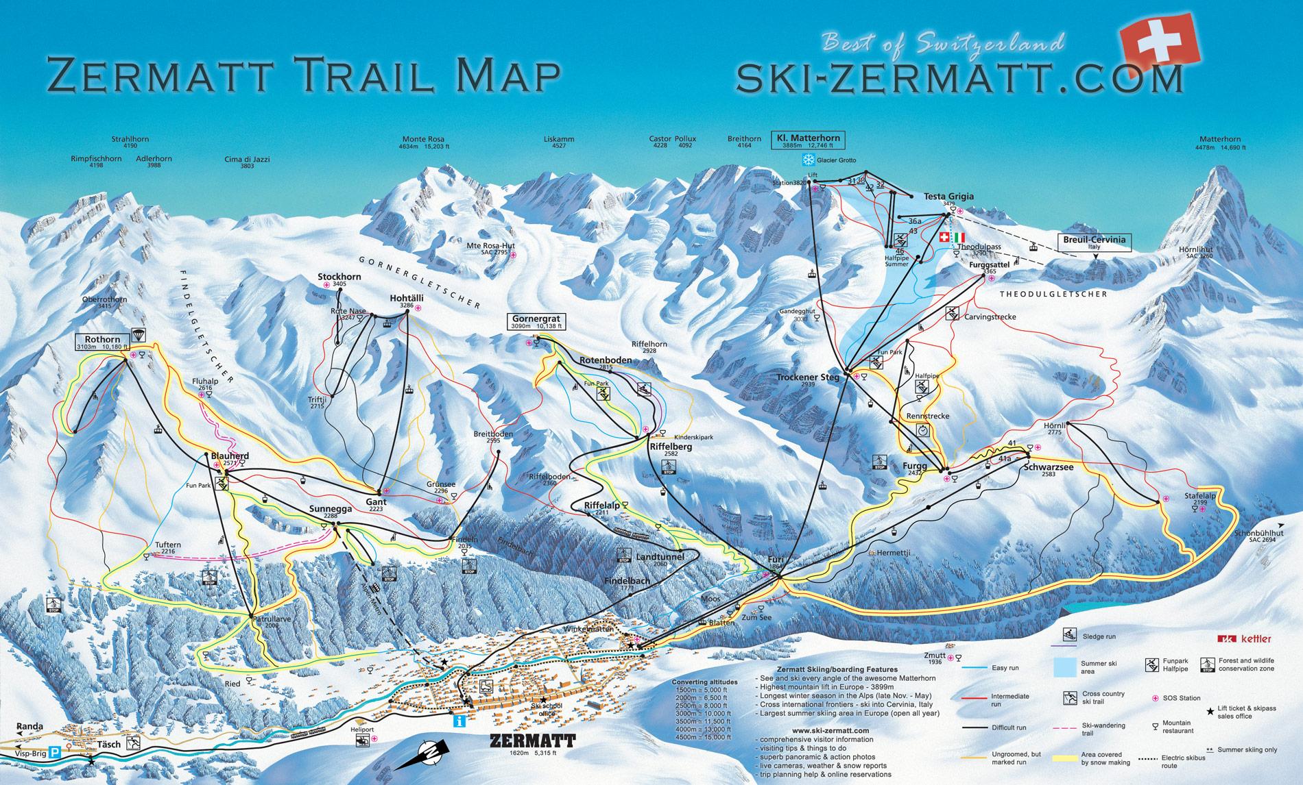 map ski resorts italy