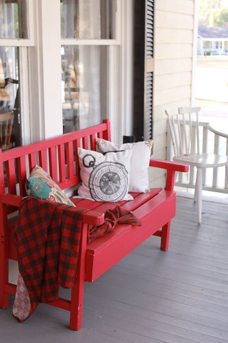 plaid blanket for a cozy porch