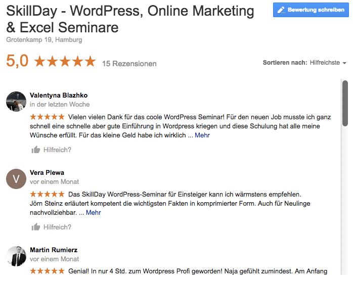 Teilnehmerstimmen WordPress Seminar