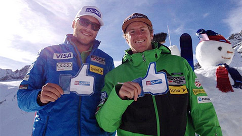 Боде Милър и Тед Лигети позират на пресконференцията на американския тим в Зьолден през 2012г.