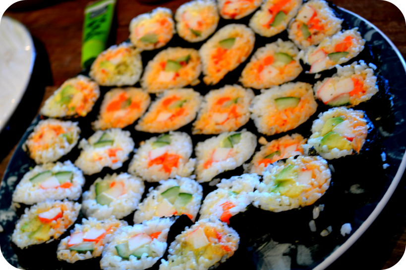 Crab and Avocado Sushi |skinnyover40.com