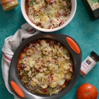 Cauliflower Pizza Bake with (HEALTHY) Nutritional Yeast