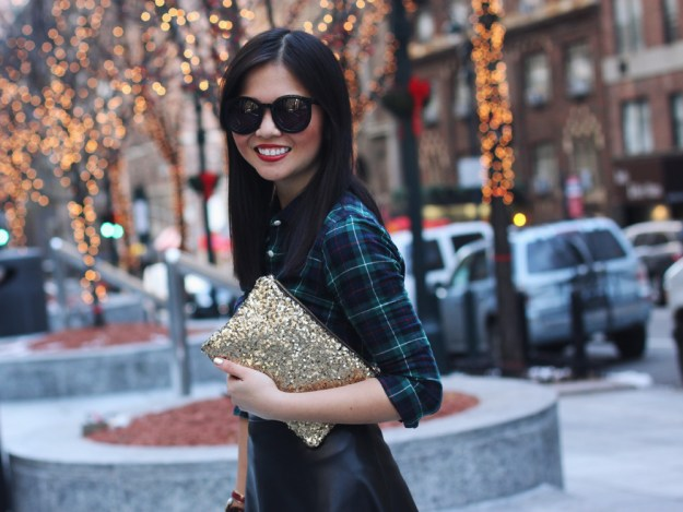 Plaid, Leather and Sequin Outfit