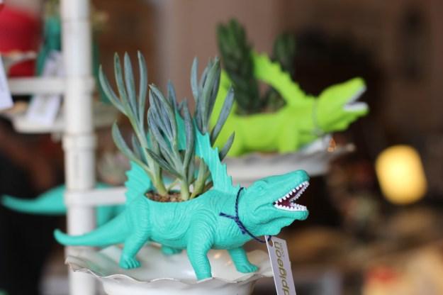 Neon Rubber Dinosaur Planters