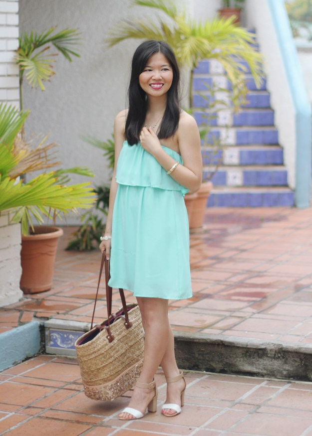 Spring Mint Dress & Straw Tote Bag