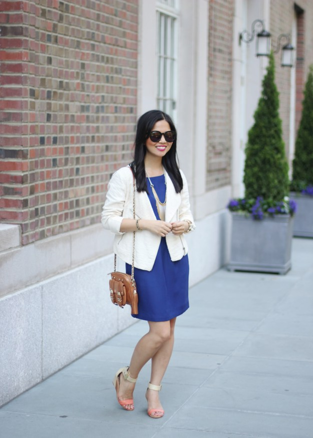 Cream Moto Jacket & Navy Dress
