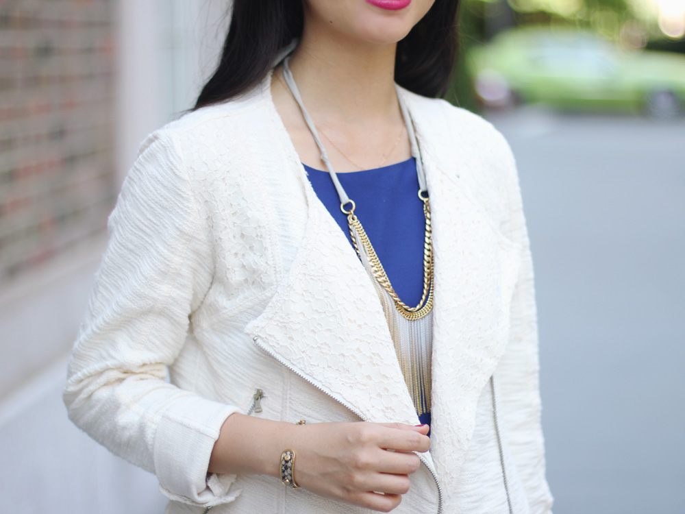 Lace Moto Jacket & Fringe Necklace
