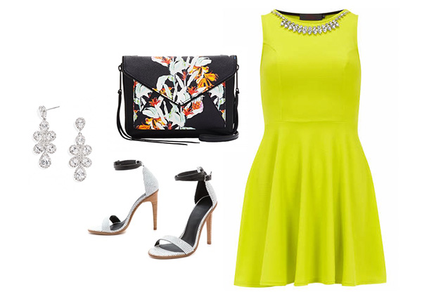 Neon Yellow Dress & Chic Accessories