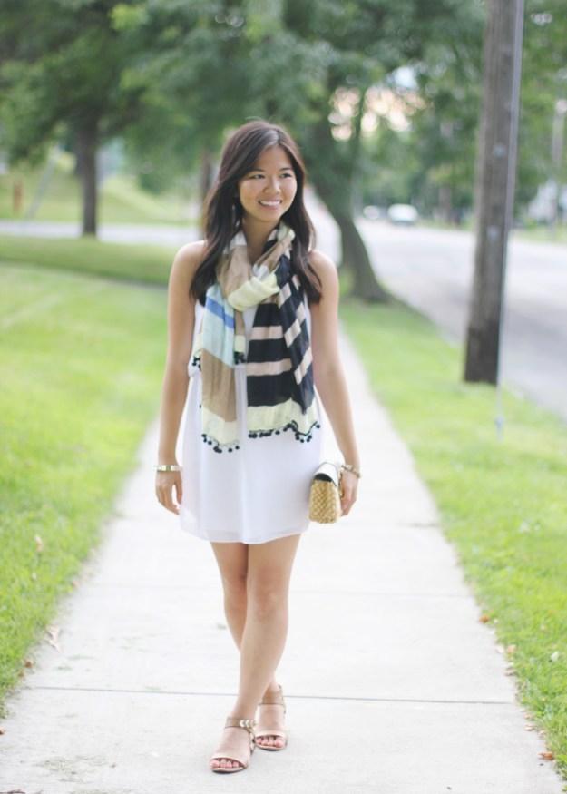 Little White Dress & Striped Scarf