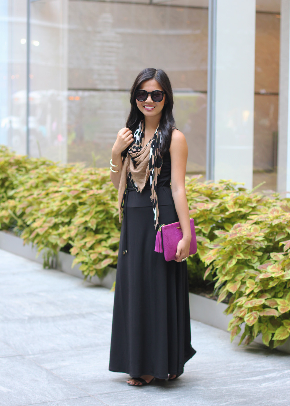 Black Maxi Dress & Leopard Scarf