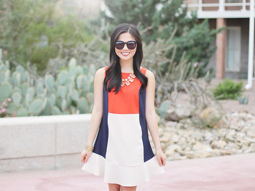 Red, Navy & Cream Colorblock Dress