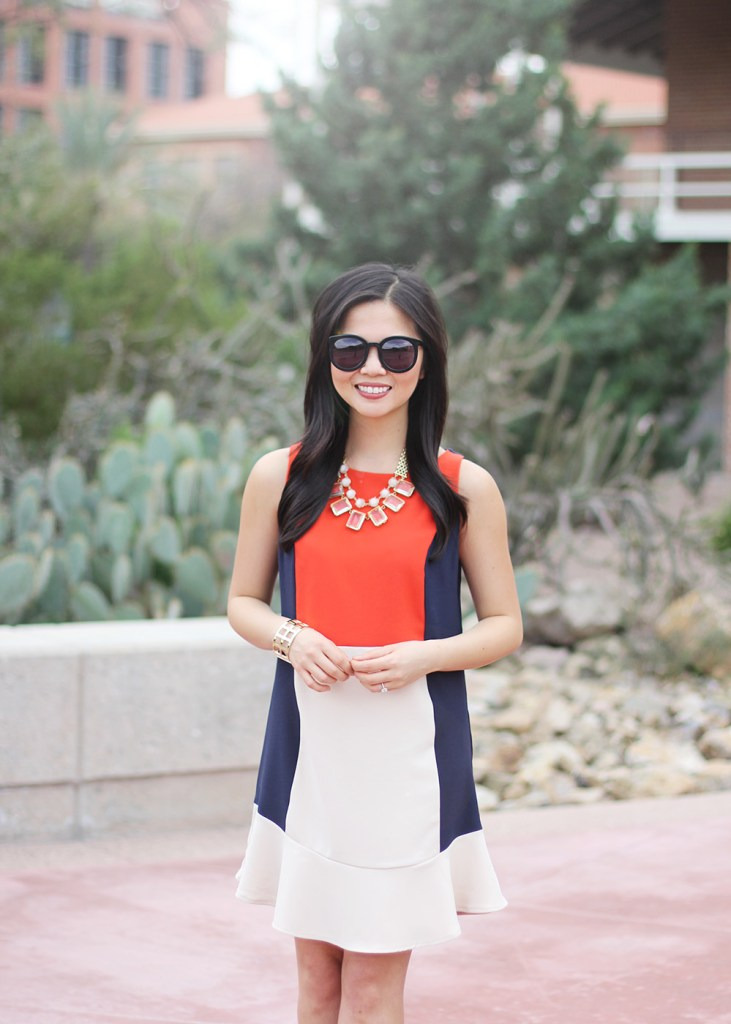 Skirt The Rules // Red, Navy & Cream Colorblock Dress